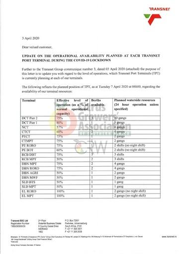 CGA COVID-19 Memo 13 - Transnet Update