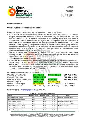 CGA COVID-19 Memo 36 - CGA Logistics Status Update