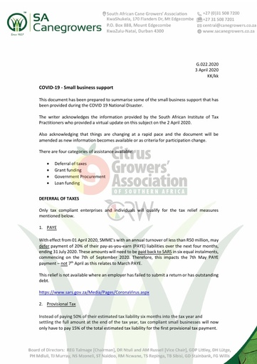 CGA COVID-19 Memo 18 - SA Canegrowers COVID-19 Small Business Support