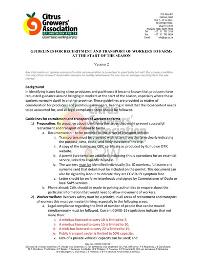 CGA COVID-19 Memo 22 - CGA Guidelines Version No. 02