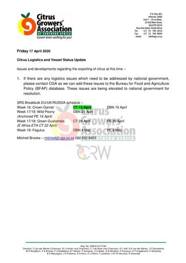 CGA COVID-19 Memo 25 - CGA Logistics Status Update