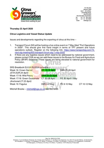 CGA COVID-19 Memo 28 - CGA Logistics Status Update
