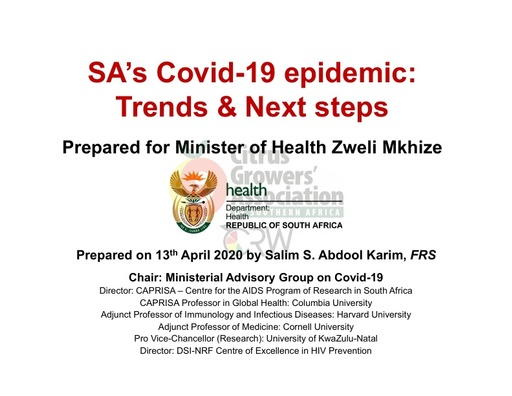 CGA COVID-19 Memo 22 - Department of Health Trends & Next Steps
