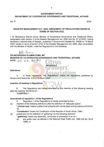 CGA COVID-19 Memo 05 - Government Notice - Final Lockdown Regulations