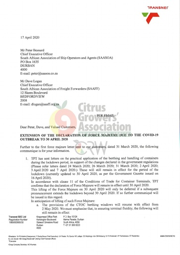 CGA COVID-19 Memo 25 - Transnet Extension of the Declaration of Force Majeure