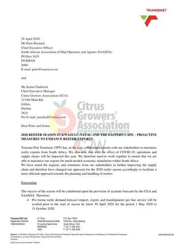 CGA COVID-19 Memo 31 - Transnet 2020 Reefer Season in KZN and EC