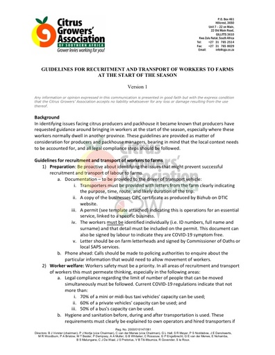 CGA COVID-19 Memo 17 - CGA Guidelines for Recruitment and Transport of Workers