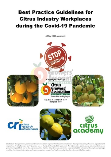 CGA COVID-19 Memo 33 - Updated Recommended Guidelines
