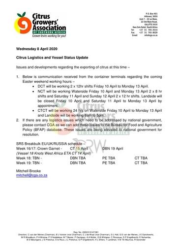 CGA COVID-19 Memo 19 - CGA Citrus Logistics Status Update