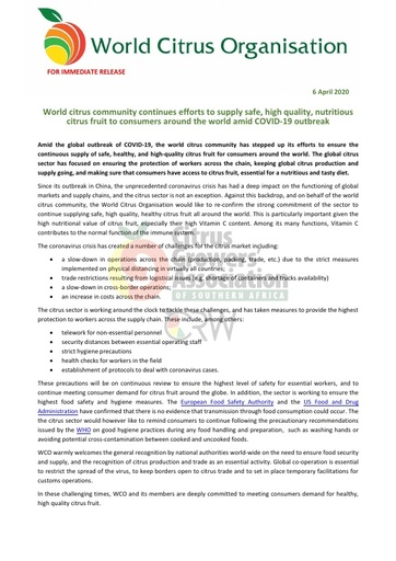 CGA COVID-19 Memo 19 - World Citrus Organisation