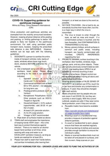 CGA COVID-19 Memo 08 - CRI Cutting Edge 293/2020
