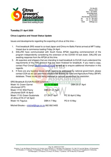 CGA COVID-19 Memo 27 - CGA Logistics Status Update
