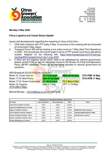 CGA COVID-19 Memo 33 - CGA Logistics Status Update