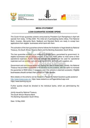 CGA COVID-19 Memo 36 - COVID-19 Loan Guarantee Scheme Opens