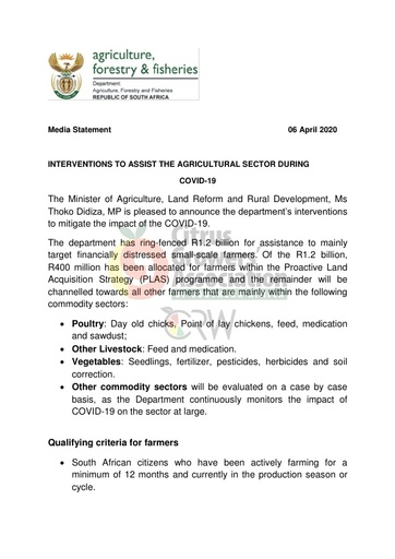 CGA COVID-19 Memo 16 - DAFF Media Statement