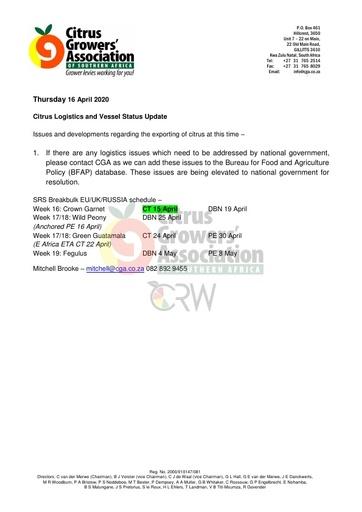 CGA COVID-19 Memo 24 - CGA Citrus Logistics Status Update
