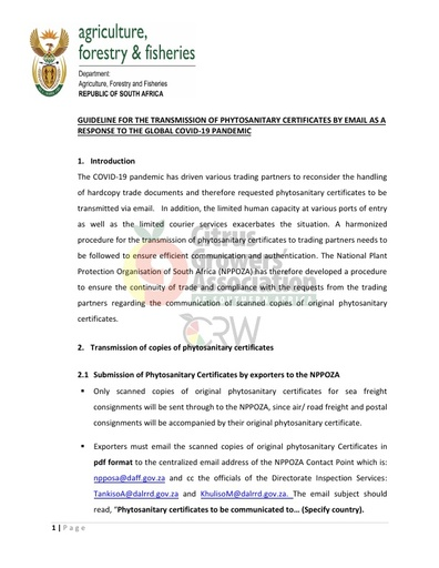 CGA COVID-19 Memo 22 - DAFF Guideline