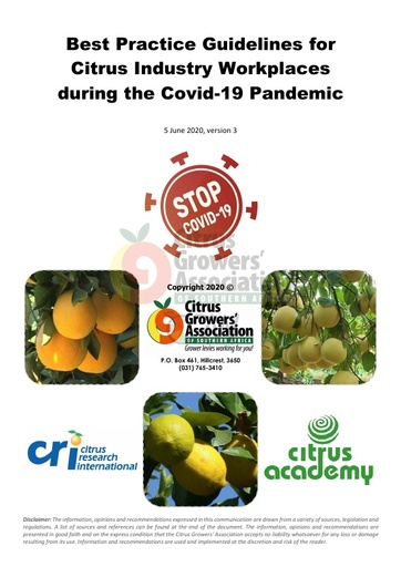 CGA COVID-19 Memo 41 - COVID-19 Workplace Best Practice Guidelines