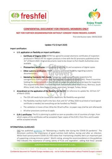 CGA COVID-19 Memo 13 - Freshfel Coronavirus Update n°12
