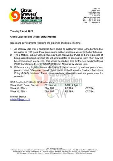 CGA COVID-19 Memo 18 - CGA Citrus Logistics Status Update