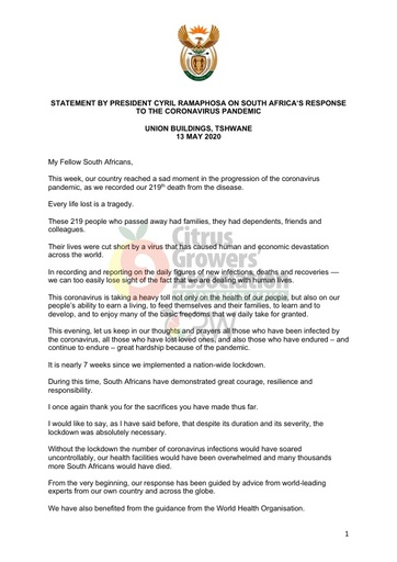 President Cyril Ramaphosa Statement