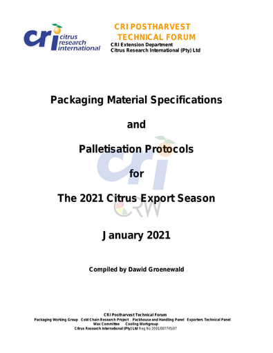 CRI - Packaging Material Specifications and Protocols2021