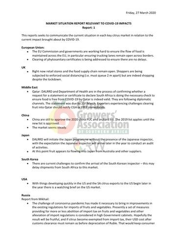 CGA COVID-19 Memo 06 - Market Situation Report No. 01