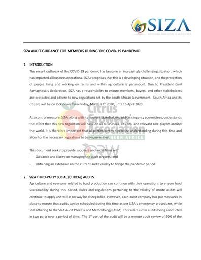 CGA COVID-19 Memo 04 - SIZA Audit Guidance