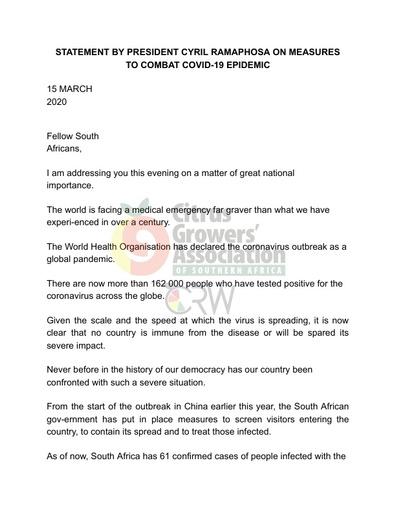 CGA COVID-19 Memo 02 - Statement by President Cyril Ramaphosa