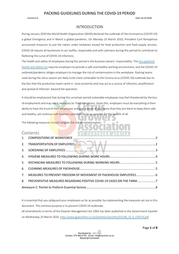 CGA COVID-19 Memo 11 - COVID-19 Packing guidelines