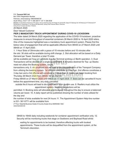 CGA COVID-19 Memo 07 - Transnet Pier 2 Truck Appointment System