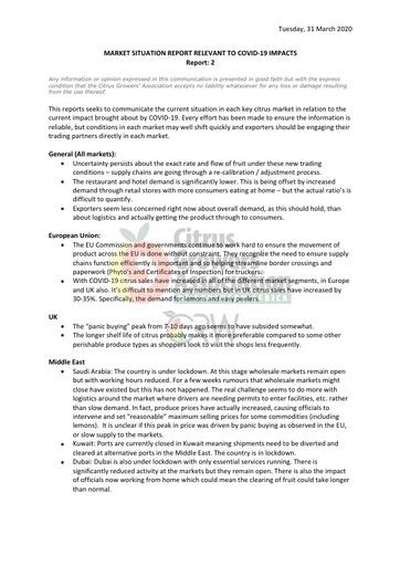 CGA COVID-19 Memo 10 - Market Situation Report No. 02