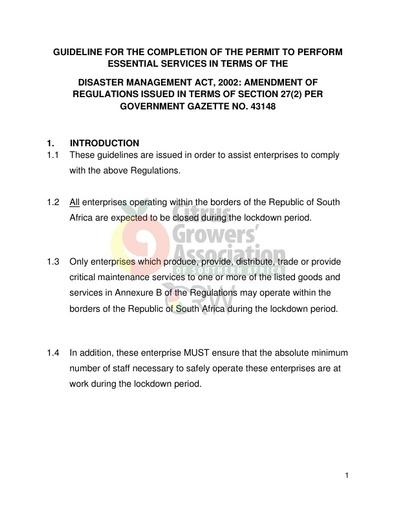 CGA COVID-19 Memo 06 - Permit to Perform Essential Services (a guideline)