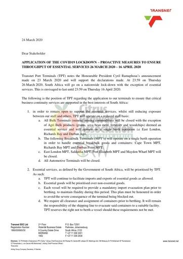CGA COVID-19 Memo 04 - Transnet Practical Application of COVID-19 Lockdown