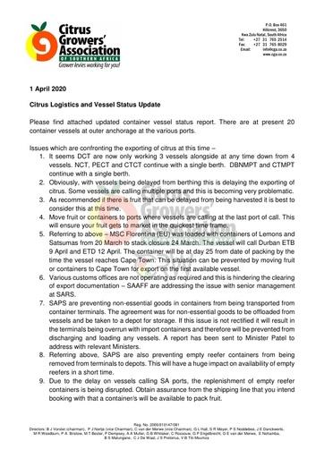 CGA COVID-19 Memo 11 - CGA Citrus Logistics Update
