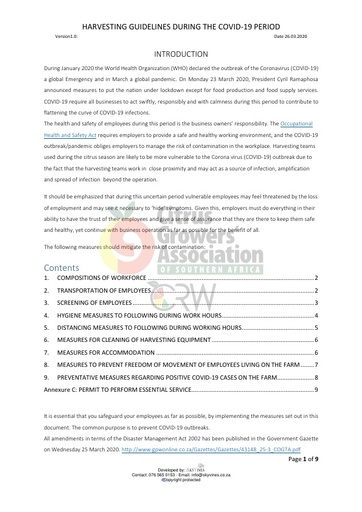 CGA COVID-19 Memo 11 - COVID-19 Harvesting guidelines