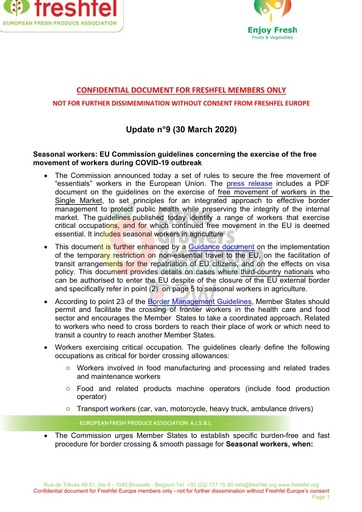 CGA COVID-19 Memo 09 - Freshfel Coronavirus Update n°9