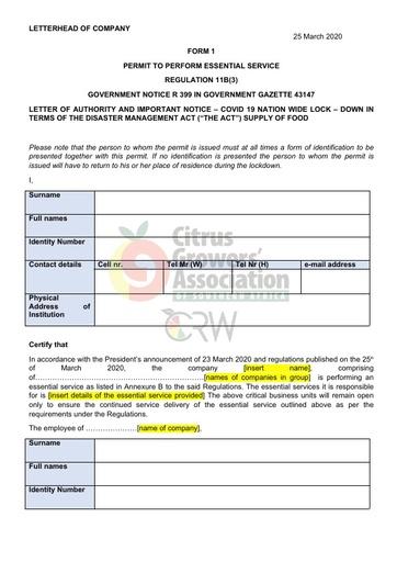 CGA COVID-19 Memo 05 - Government Notice - Permit to Perform Essential Service