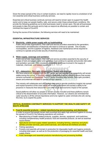 CGA COVID-19 Memo 02 - COVID-19 Essential Infrastructure Services